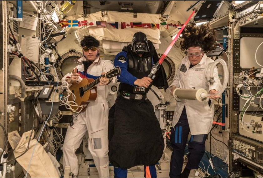 Lightsaber Wielding Darth Vader on the International Space Station (ISS)