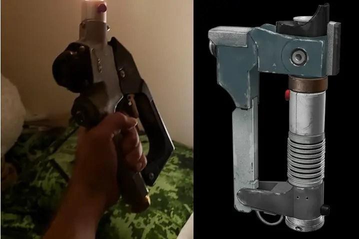 'The Octane' gas pump nozzle lightsaber (left) and Ezra Bridger lightsaber-blaster hybrid (right)