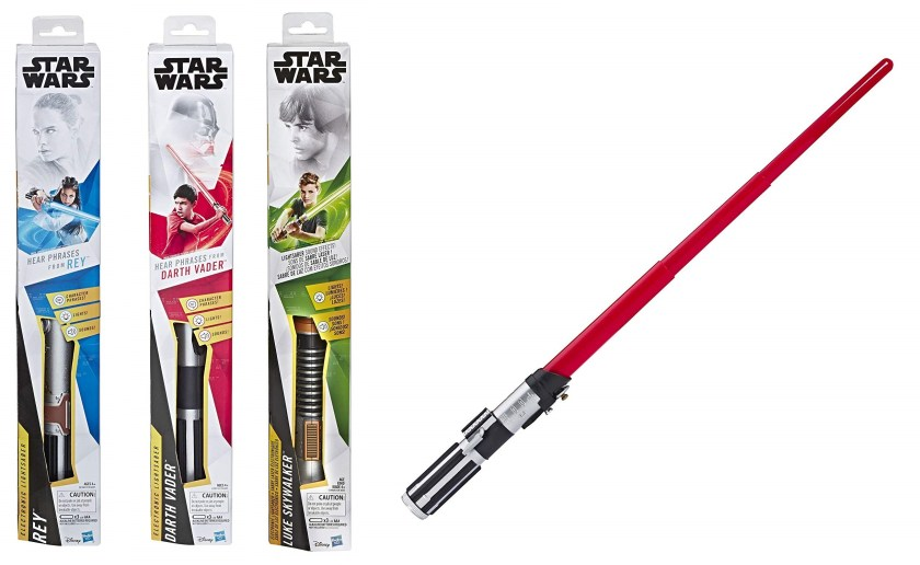 Level 2 Lightsaber Academy Lightsabers (left to right): Rey, Darth Vader, Luke Skywalker