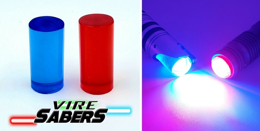 Vire Sabers acrylic transparent blue and red lightsaber blade plugs