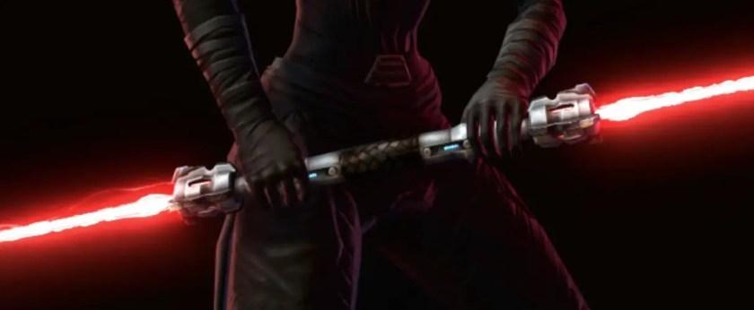 Closeup on the Darth Hexid lightsaber, an Unstable Arbiter's Dualsaber