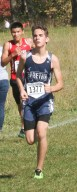 Sophomore Spencer Strahm maintains his speed during the 3A State Meet on Saturday, October 27, at Rim Rock.