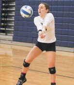 Senior Hillary Krebs receives the serve during the Sabetha-Hiawatha contest on Tuesday, October 16.
