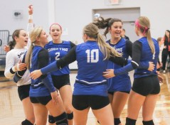 The Lady Jays celebrates an ace during their match-up with Hiawatha on Tuesday, October 16. Pictured are (L-R) Hillary Krebs, Trista Argabright, Nikki Kuenzi, Payton Michael, Melinna Schumann and Morgan Schuette.