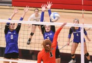 Senior Shayna Strahm and junior Nikki Kuenzi go up for a block during the Sabetha-Clay Center match-up during Sub-State at Marysville on Saturday, October 20.