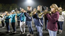 "The Sabetha High School and Sabetha Middle School bands perform together during the football game on Friday, October 12. The combined bands totaled 80 students. Their halftime theme was songs from the 60s, which included ""The Horse,"" ""Boom Boom"" and ""Sweet Caroline."""