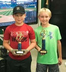 In the 10U boys' Home Run Derby held at ShedFest, Gavin Wedel, right, and Jayton Meyer, left, win first and second places, respectively. The competition was held Saturday, October 6.