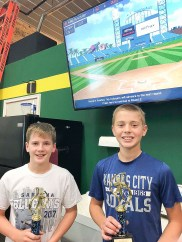 Mitchel Kramer, left, and Noah Kroll, right, win first and second places, respectively, in the 12-14U Home Run Derby held as part of ShedFest on Saturday, October 6.