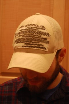 Drew in patched hat