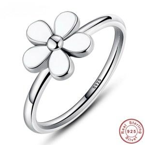 Inel Edelweiss de argint 925 cu floare alba