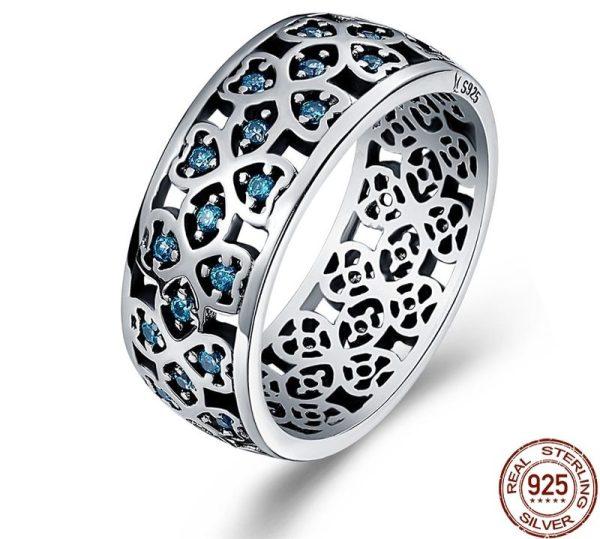 Inel de argint Blue Petals