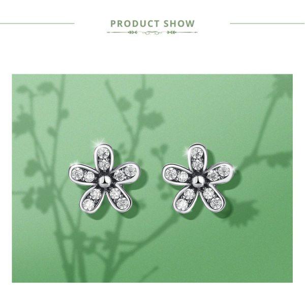 Cercei Sparkling Daisy din Argint