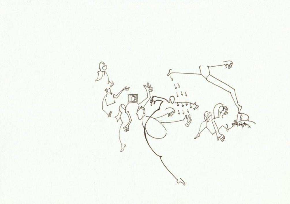 Zeichnung, linear, mit schwarzem Fineliner, ein Blick auf eine Szene, Figuren deren Köpfe, Füße, Hände drehen sich in verschiedenen Richtungen, Pfeileregen aus dem Fuß einer hüpfenden Figur in die Hand einer abdrehenden Figur, was macht das Bild da auf dem Kopf?