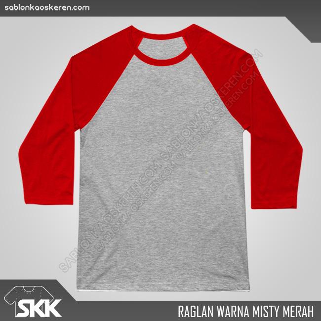Kaos Raglan Polos Misty Merah