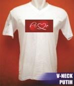 Kaos V-neck putih,bahan cotton combeds, cocok untuk cewek,sablon digital bergambar tulisan/kata-kata, uk. gambar A4,diproses dengan bahan penguat agar hasil sablon menyamai sablon manual, cocok untuk merayakan valentine days bersama pasangan. Kode B13-KT15 Harga Rp 55.000