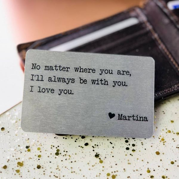 Customized Love Metal wallet Quote Card