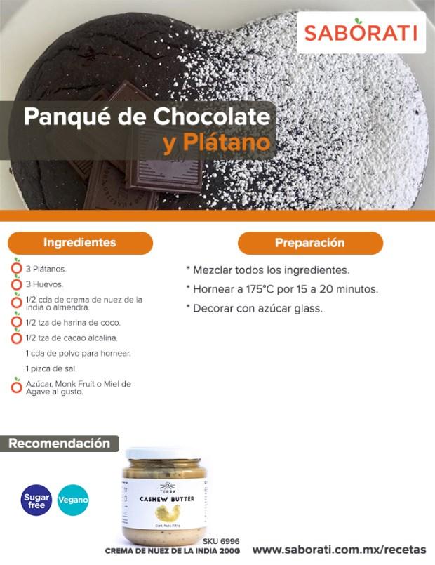 Receta de Panqué de Chocolate y Plátano