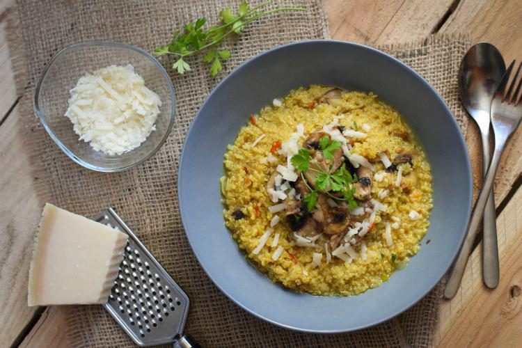 Quinotto (risotto de quinoa) con champiñones al ajillo
