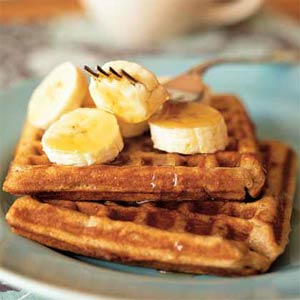 waffles con miel y platano