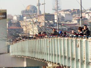 Galata Bridge fishing