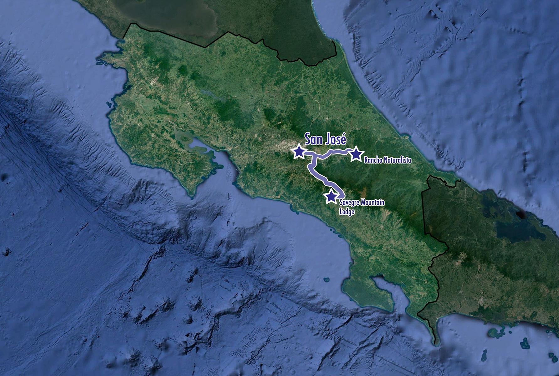 Costa Rica: Jewels - Map