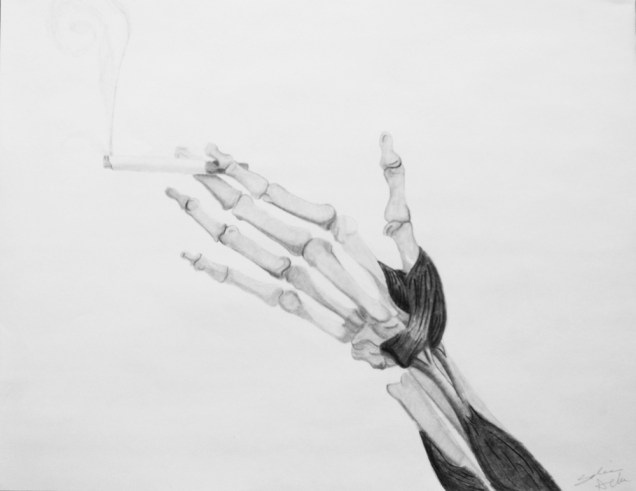 """Smoker's Choice,"" Graphite on Bienfang, 18″ x 24″, 2016"