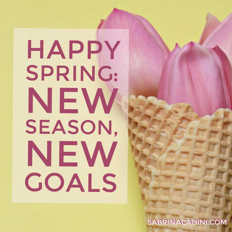 happy spring, a new season to create new goals or update existing ones in your life. goal setting according to seasons: spring, summer, fall, winter - life comes first, then work can get done