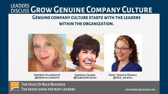 sabrina cadini interviewed by jessica dewell on the voice of bold business podcast with andrea villeneuve on company culture