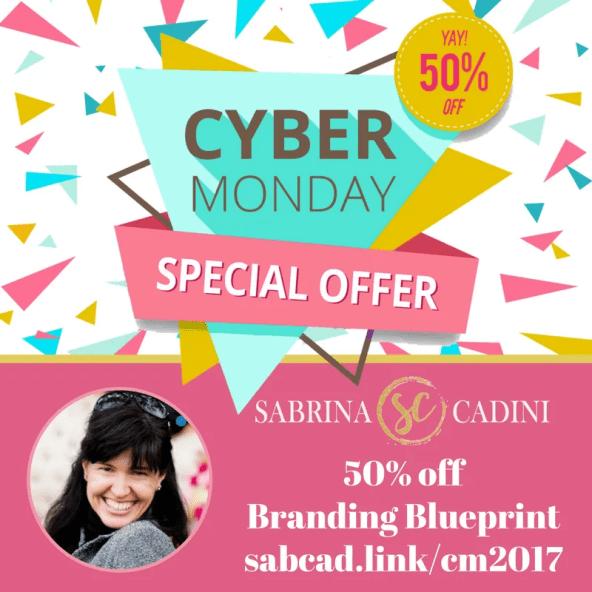 sabrina cadini cyber monday branding blueprint 50% off business productivity coach entrepreneurs weddingpreneurs