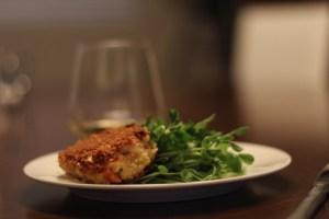 Crab Cakes Served Pea Shoots