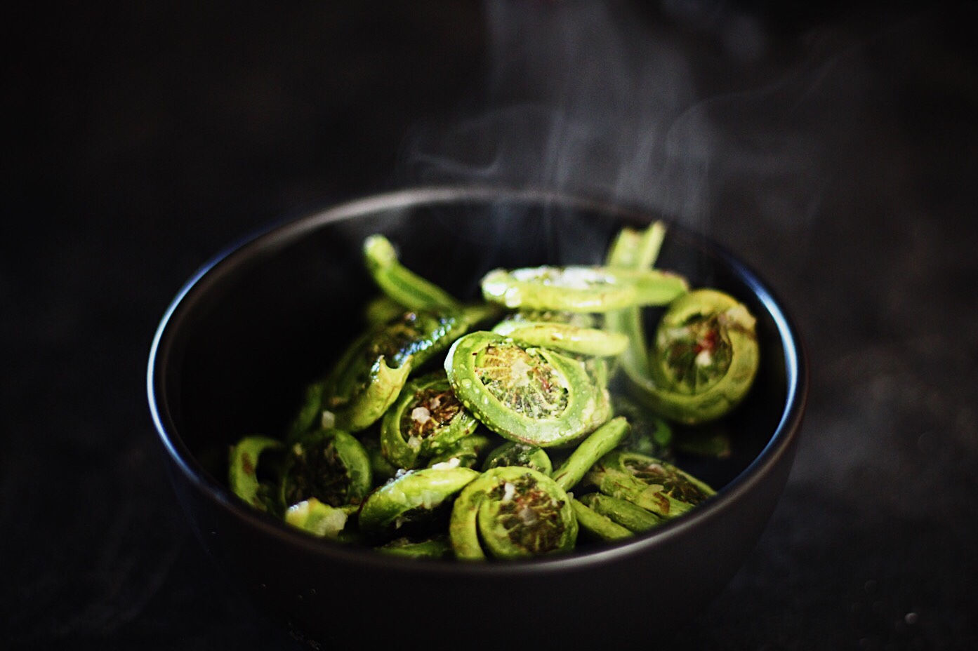 PNW Fiddleheads with Garlic, Ginger and Sesame