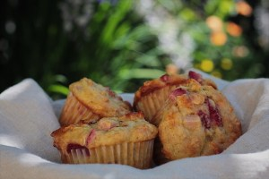Healthy strawberry rhubarb muffins in a bowl