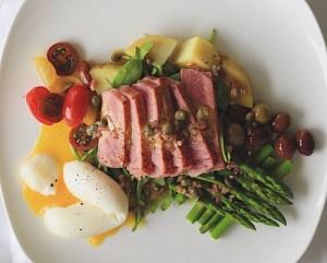 Finished Ahi Tuna Nicoise Salad