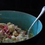 Strawberry rhubarb oatmeal and Greek yogurt muffin batter