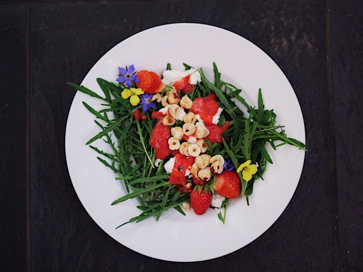 Strawberry Arugula Salad with Nuts and Cheese