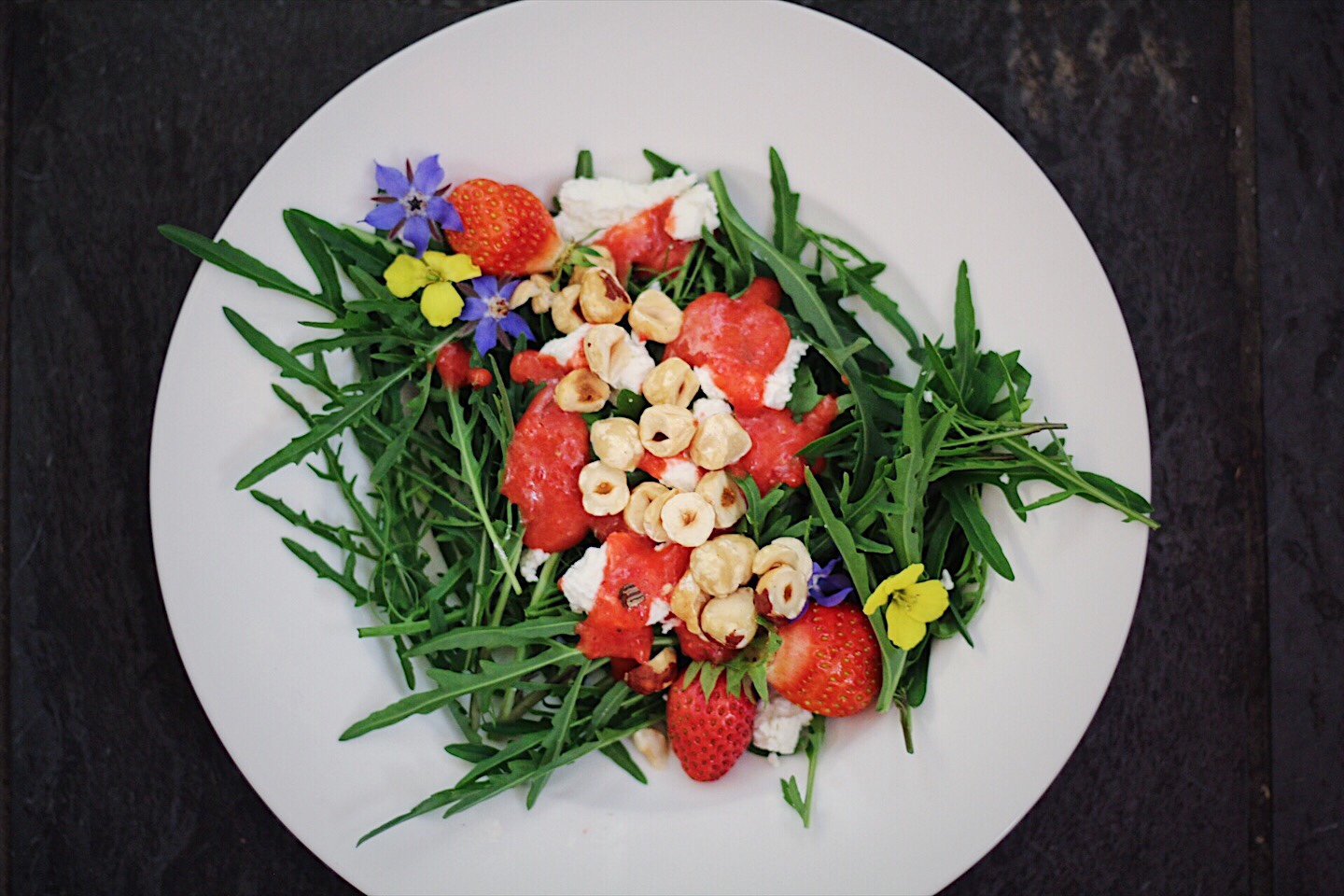 Fresh Strawberry Vinaigrette with Arugula, Hazelnuts and Goat Cheese