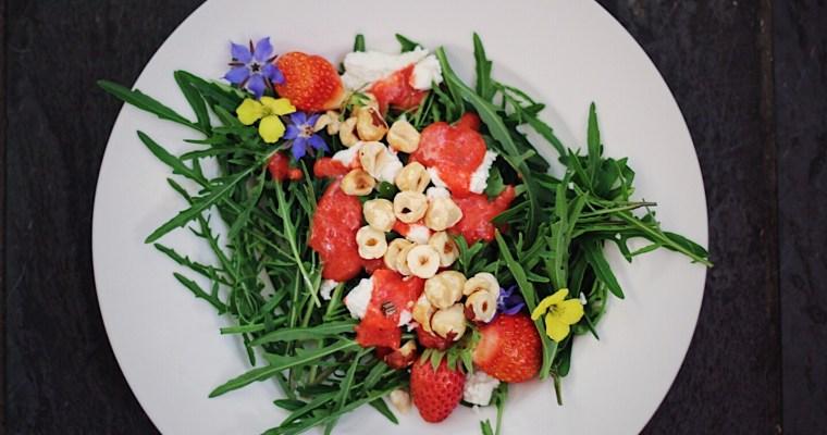 Bright, Fresh Arugula Salad with Strawberry Vinaigrette