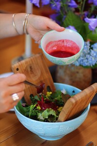 Simple Garden Salad with Raspberry Vinaigrette