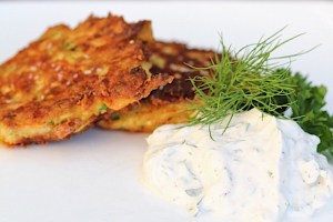 Herb Yogurt Dip with Zucchini Fritters