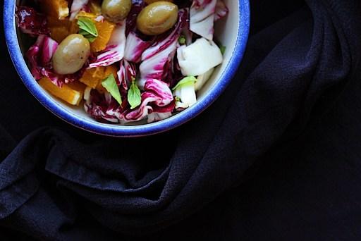 Orange Radicchio Salad with Green Olives
