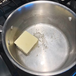 Melting butter in water for fritters