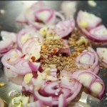 Shallots, Garlic, Fennel And Hot Pepper Flakes For Prawns In Broth