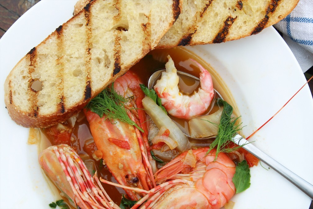 Wild West Coast Prawns In Tomato Fennel Broth And Grilled