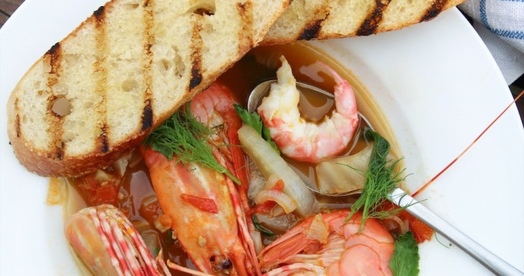 Wild West Coast Prawns In Tomato Fennel Broth And How to Grill Them Simply