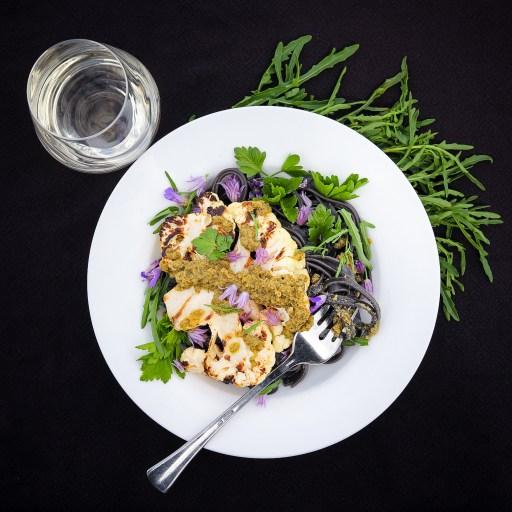 Grilled Cauliflower Steaks With Sardo Arugula Pesto