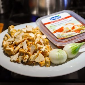 mushrooms, onions and Sardo sundried tomatoes for fettuccine recipe