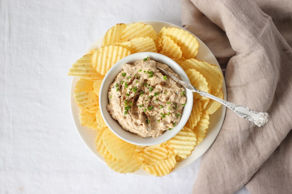 Easy Make Ahead Dip with Caramelized Onions is a Crowd Pleaser