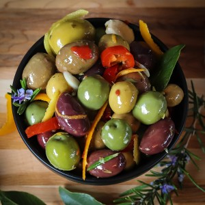 Citrus anise and chili flavour these Italian style warm marinated olives