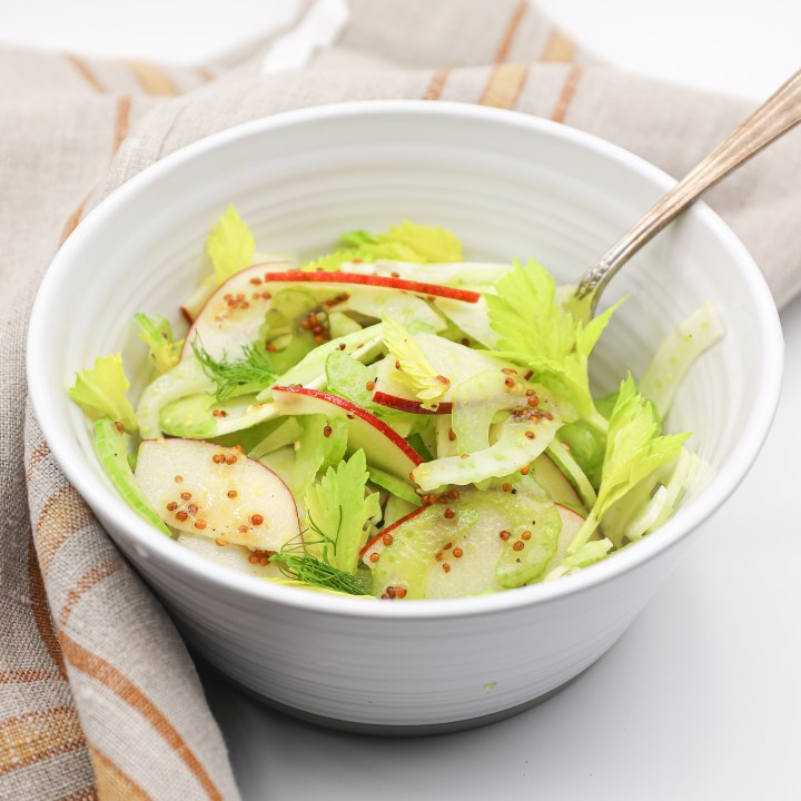 Easy Winter Salad of Apple Celery and Fennel with a Grainy Mustard Vinaigrette