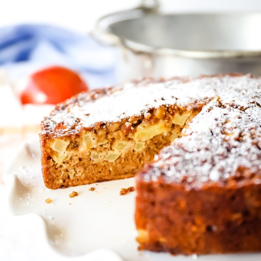 Tender, moist apple cake enriched with oatmeal and eggs